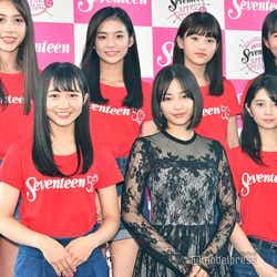 前列左から:山本彩加、広瀬すず、桜田ひより、後列左から:髙橋アリス、永瀬莉子、出口夏希、大友樹乃(C)モデルプレス 1枚