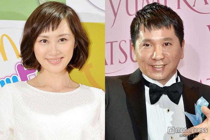同居&結婚が報じられた爆笑問題・田中裕二(右)と山口もえ(左)【モデルプレス】