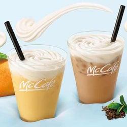 マックカフェ「マスカルポーネ入り ふわふわムース」ミルクティー&マンゴーミルク2種の新作