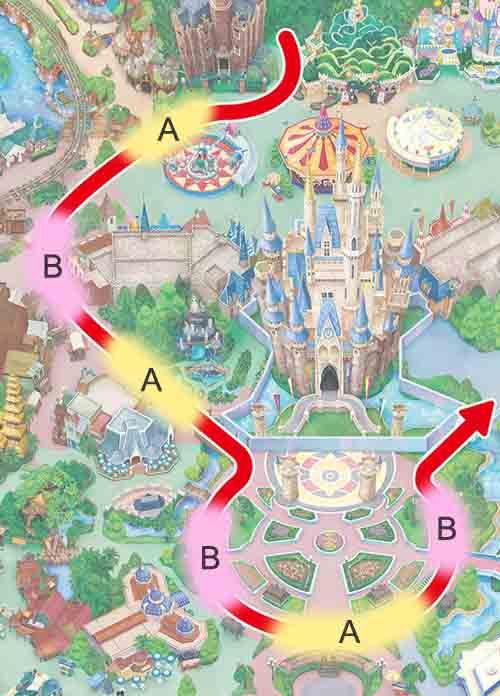 パレードルート上の停止位置(イメージ) (C)Disney