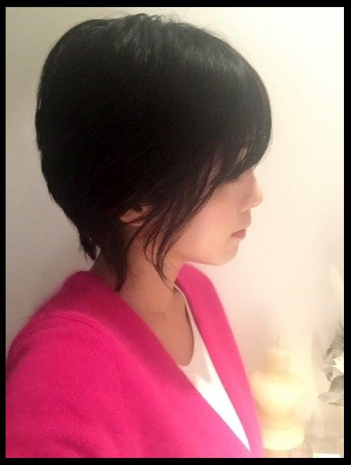 前回の襟足が長いショートヘアの釈由美子/釈由美子オフィシャルブログ(Ameba)より