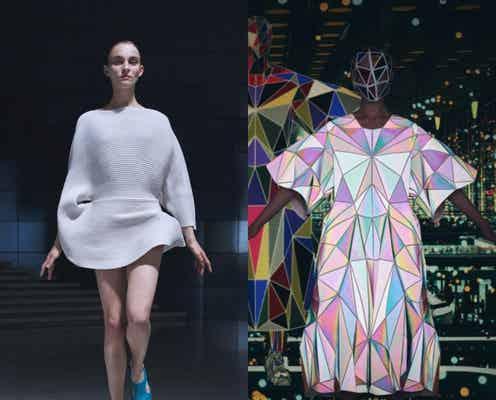「イッセイミヤケ」有機的な丸みのニットドレス 「アンリアレイジ」三角形をはぎ合わせたドレス