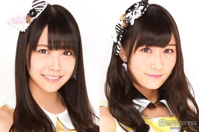 NMB48 10thシングル表題曲(タイトル未定)でWセンターをつとめる(左から)白間美瑠、矢倉楓子(C)NMB48