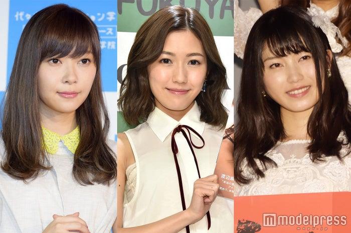"AKB48""紅白選抜""最終結果に各メンバーの反応は?(左から)指原莉乃、渡辺麻友、横山由依 (C)モデルプレス"