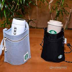 同日発売の(左から)スターバックス アップサイクルコットン ボトルサコッシュ デニムブルー、CORDURA(R) Eco Fabricボトルサコッシュブラック各¥3,080(C)モデルプレス