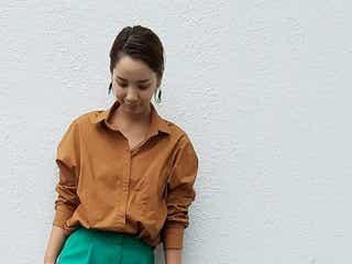 キレイに秋めくブラウンのシャツブラウス。トレンドカラーで旬顔コーディネート♥
