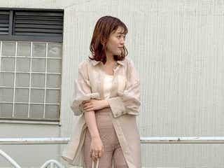 《5/30の服装》さり気なくおしゃれに魅せる!華やかベージュのワントーンコーデ