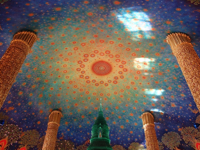 Roof of temple within Wat Paknam Bhasicharoen Temple, Bangkok, Thailand by ambabheg