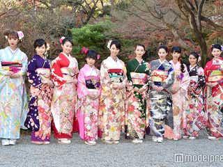 武井咲・剛力彩芽・河北麻友子・藤田ニコルら美女10人が華やか晴れ着姿で豪華集結