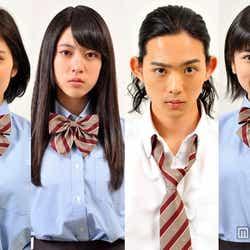 GTO」新シリーズに生徒役として出演する、松岡茉優、三吉彩花、竜星涼、小芝風花ら(左から)