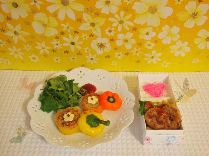 「お花パプリカ → ナゲットバーグ ランチ☆」