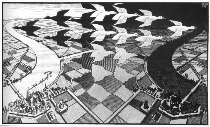 エッシャー作『昼と夜』。オランダの典型的な干拓地をモチーフに、ガンの群れが昼から夜へと飛びかう姿がなんとも不思議! 『Day and Night』 1938, woodcut, M.C.Escher (1898-1972)(c)The M.C. Escher Company BV, Baarn