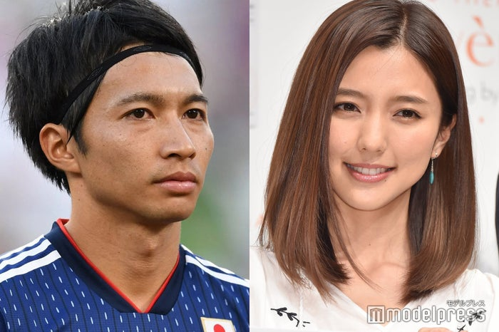 柴崎岳選手(Photo by Getty Images)・真野恵里菜(C)モデルプレス
