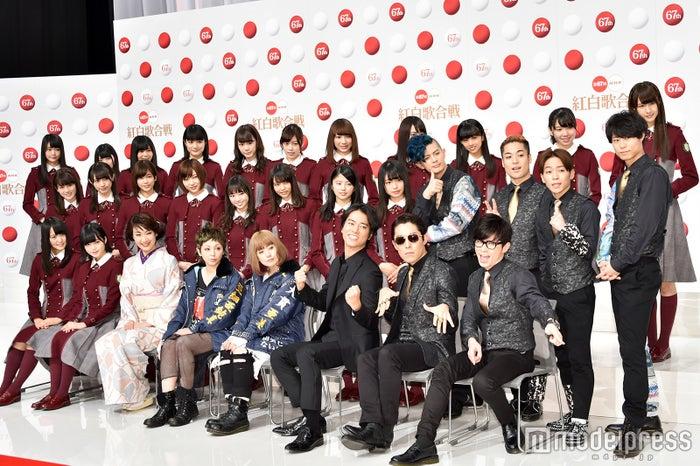 (左から)欅坂46、市川由紀乃、PUFFY、桐谷健太、RADIO FISH/「第67回NHK紅白歌合戦」の出場歌手発表会見より(C)モデルプレス