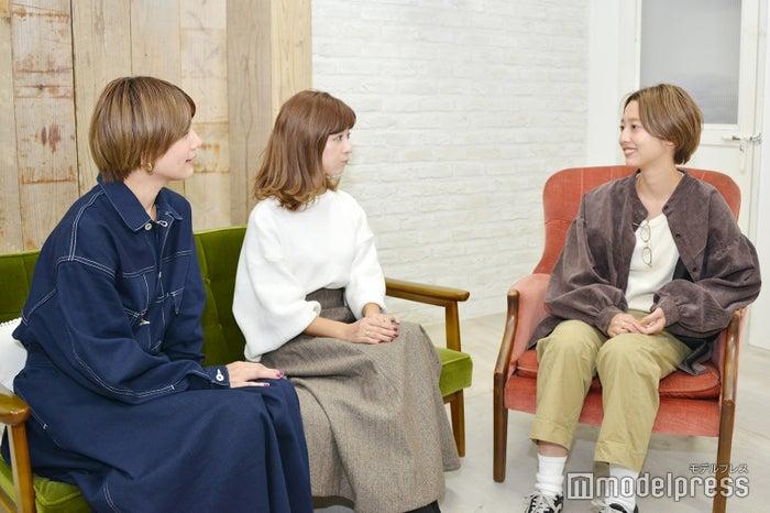 (左から)石川瑠利子、水野佐彩、石田一帆(C)モデルプレス