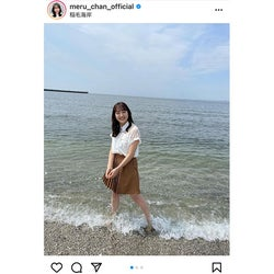 HKT48 田島芽瑠、浜辺で清涼感あふれるデート風ショットに反響!「夏の天使ですね」