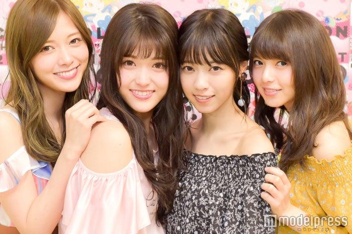 モデルプレスのインタビューに応じた白石麻衣、松村沙友理、西野七瀬、齋藤飛鳥(C)モデルプレス