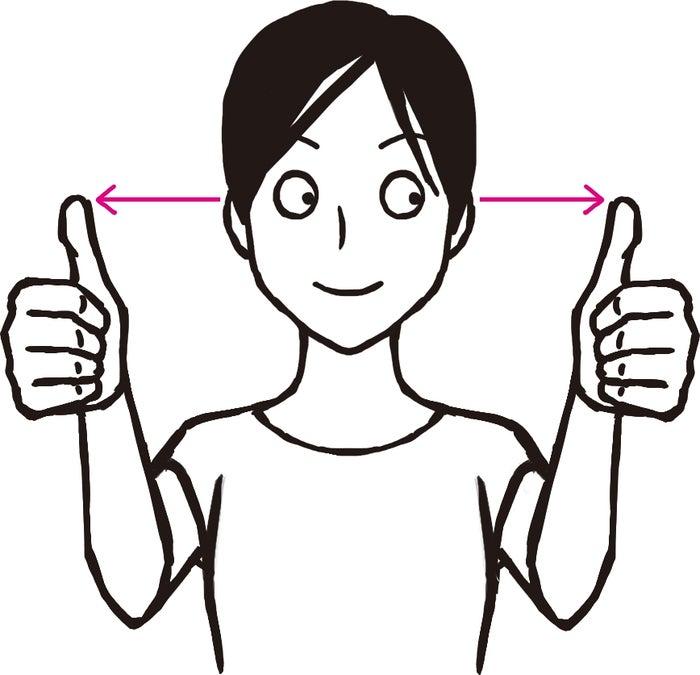 顔の前30センチくらいのところに両親指を立てて交互に見る(C)松本奈緒美