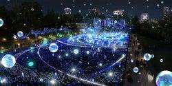 東京ミッドタウン、クリスマスイルミにしゃぼん玉×光るバルーンの幻想的な特別演出