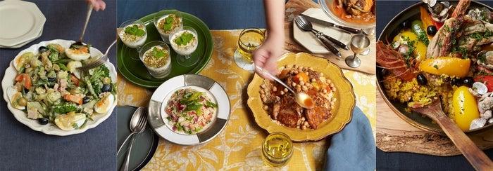 魚介類をたっぷり使った地中海料理の定番「パエリア」や、色鮮やかな「ホットサラダ」、ダイエット食として人気上昇中「クスクス」のレシピも掲載(提供写真)