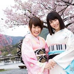 満開の桜が咲く嵐山にて2ショット(C)関西テレビ放送
