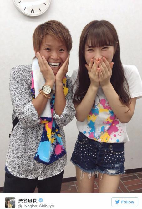 NMB48の渋谷凪咲となでしこジャパンでINAC神戸レオネッサ所属の田中明日菜(田中明日菜Twitterより)