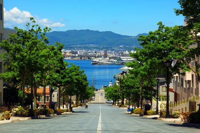 海を目前に望む八幡坂には道脇に素敵なお店がたくさん(提供画像:函館市観光部)