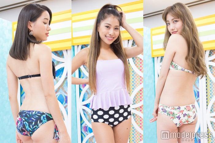 (左から)八鍬有紗、樽見麻緒、小林レイミ/水着提供:HOYUKI(C)モデルプレス