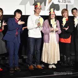 平野綾、阪口大助、菅田将暉、緒方恵美と記念撮影(C)モデルプレス