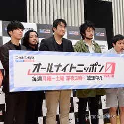 会見の様子(左から)伊藤健太郎、Creepy Nuts(DJ松永、R-指定)、佐久間宣行氏、King Gnu・井口理、霜降り明星(せいや、粗品)
