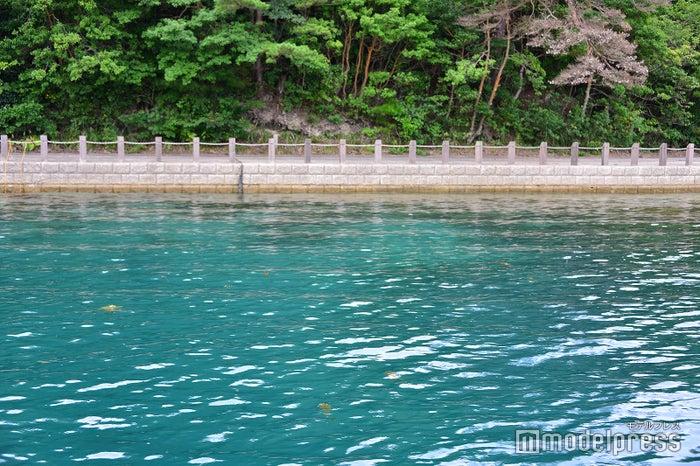 海岸線に茂る緑が水面に映りこみ深い青さに見える(C)モデルプレス