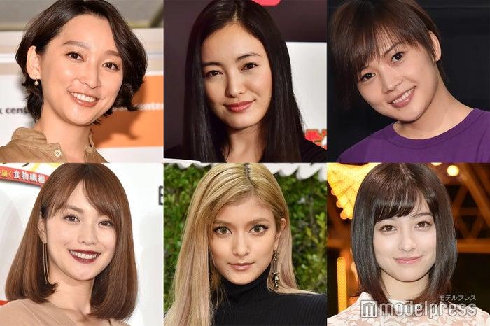 左上から時計回り:杏、仲間由紀恵、yui、橋本環奈、ローラ、蛯原友里 (C)モデルプレス