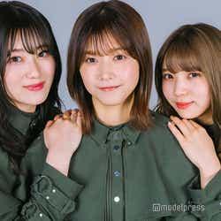 モデルプレスのインタビューに応じた欅坂46(左から)守屋茜、渡邉理佐、小林由依(C)モデルプレス