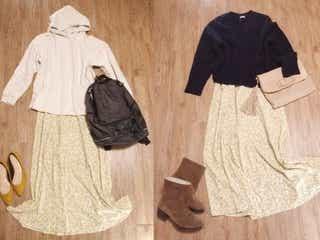 【GU】花柄とろみスカートで作る、フェミニンカジュアル