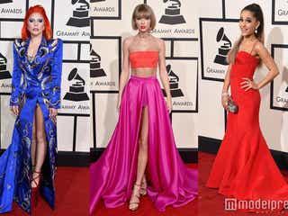 テイラー、ガガ、アリアナら、華やかドレスでグラミー賞レッドカーペットを彩る