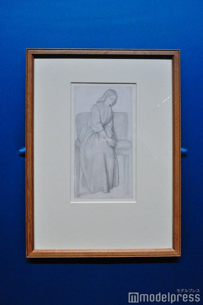 ダンテ・ゲイブリエル・ロセッティ《エリザベス・シダル―〈ダンテが見たラケルとレアの幻影〉のための習作》1855年頃、鉛筆 バーミンガム美術館(C)モデルプレス