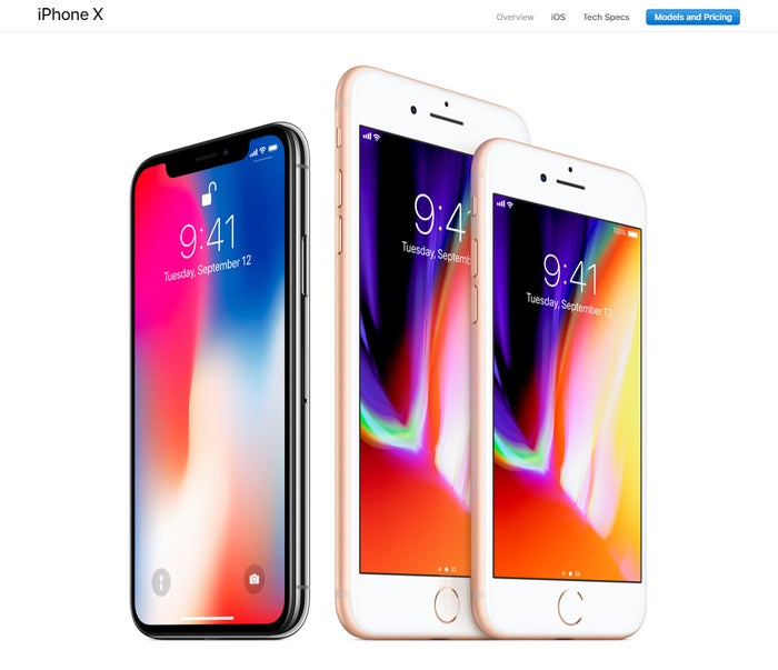 「iPhone X」、「iPhone 8 Plus」、「iPhone 8」/Appleオフィシャルサイトより