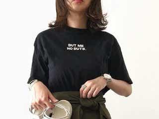 「黒のロゴ入りTシャツ」を大人っぽく。お手軽ロゴTシャツできれいめカジュアルコーデ11選♪