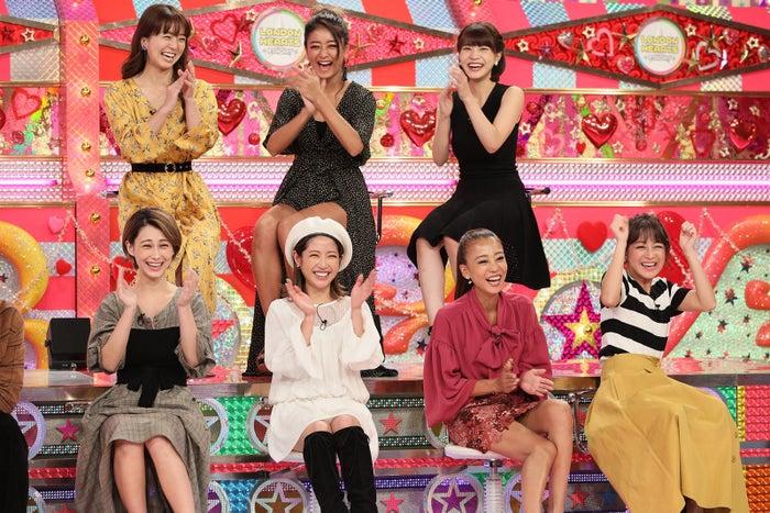 (前列左から)ダレノガレ明美、くみっきー、あびる優、鈴木奈々(後列左から)祥子、池田美優、岸明日香(C)テレビ朝日
