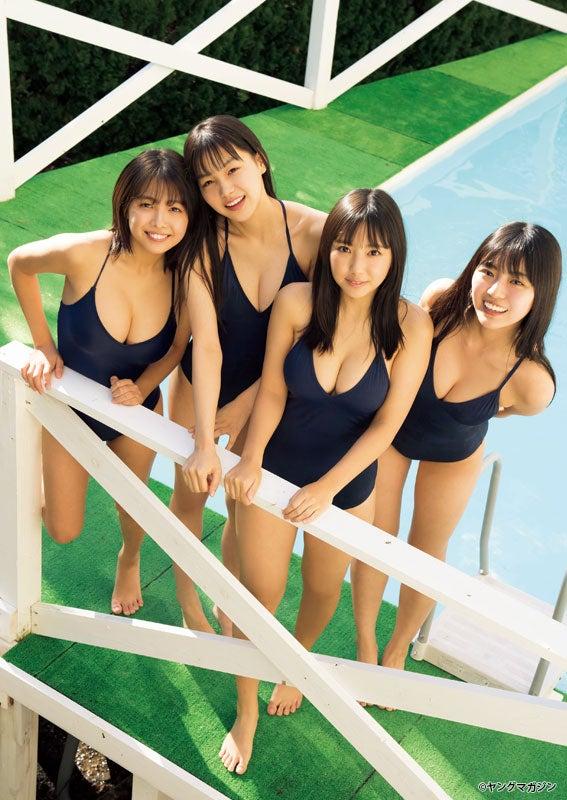 (左から)寺本莉緒、吉澤遥奈、沢口愛華、豊田ルナ(C)LUCKMAN /ヤングマガジン
