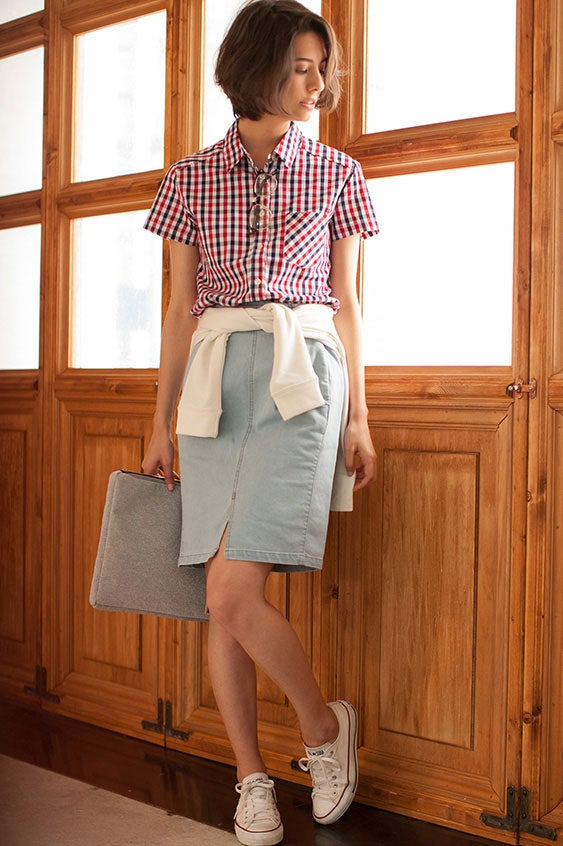 半袖ギンガムチェックシャツ「STYLEST」2,200円(税別)/画像提供:STYLEST