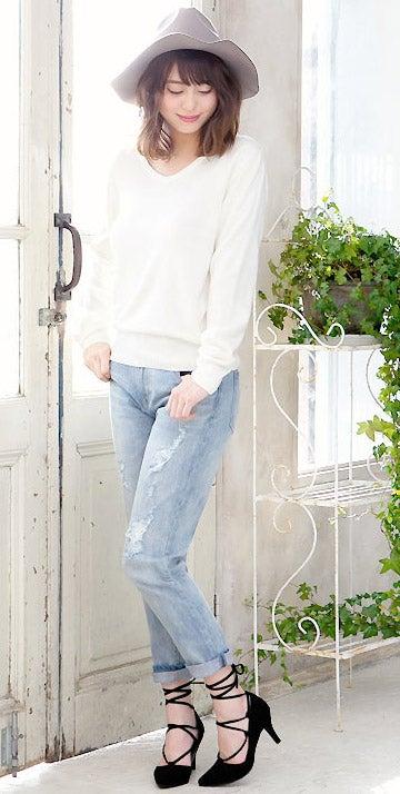 7cmヒールポインテッドトゥ編み上げギリーパンプス「神戸レタス」2790円(税込)/画像提供:神戸レタス