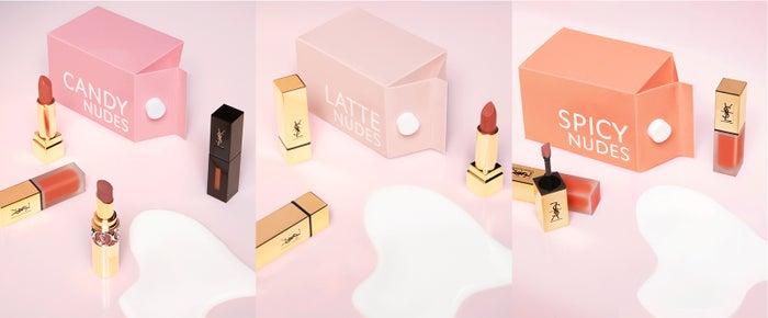 「YVES SAINT LAURENT BEAUTE(イヴ・サンローラン・ボーテ)」から新たに発売されるリップコレクション「CANDY NUDE」、「LATTE NUDE」、「SPICY NUDE」(画像提供:YSL)