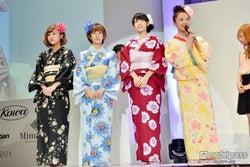 「第2回JUNONプロデュース ガールズコンテスト」で浴衣姿を披露した℃-ute(左から萩原舞、岡井千聖、鈴木愛理、中島早貴)
