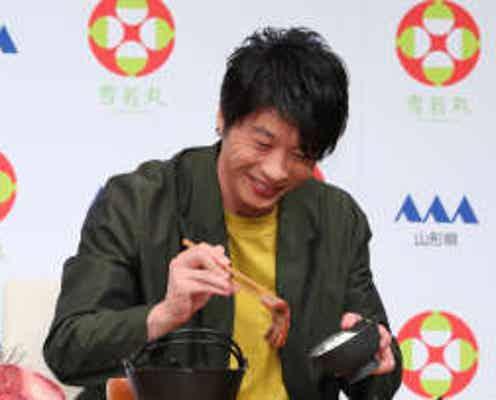 """田中圭 「僕の""""ご飯を食べる会""""みたいになって…」新米、牛ステーキ、芋煮をほおばり「ふはははは」"""