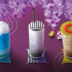 (左から)空色ソーダ、黒すぐりヨーグルト、ほうじ茶ミルク(C)吾峠呼世晴/集英社・アニプレックス・ufotable