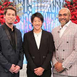 (左から)前田健太選手、上野由岐子選手、中島イシレリ選手(C)フジテレビ