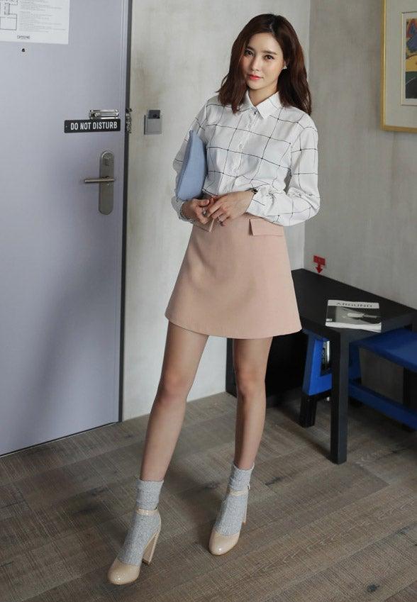 <DHOLIC オリジナル>フラップポケットAラインハイウエストミニスカート・全3色「DHOLIC」2,786円(税込)/画像提供:DHOLIC