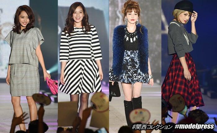 関西コレクションのランウェイを歩くモデルたち/写真左から:近藤千尋、筧美和子、藤井リナ、ダレノガレ明美