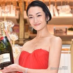 冨永愛、美デコルテ披露の華やかドレスでシャンパンタワー初体験 クリスマスの予定も明かす